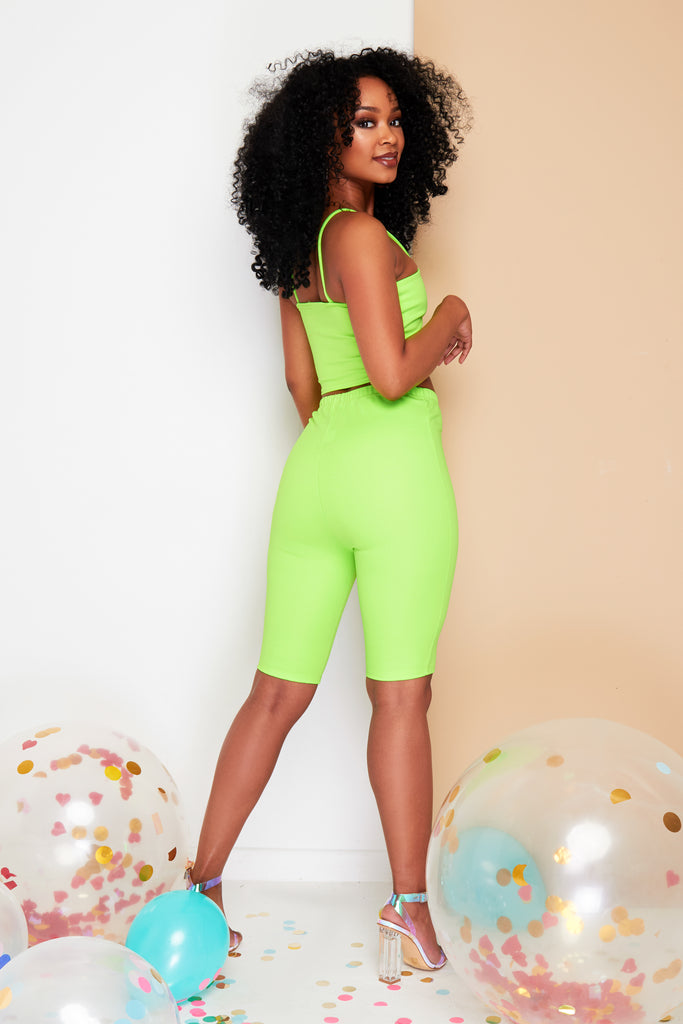 Neon green cycling shorts Co-ord