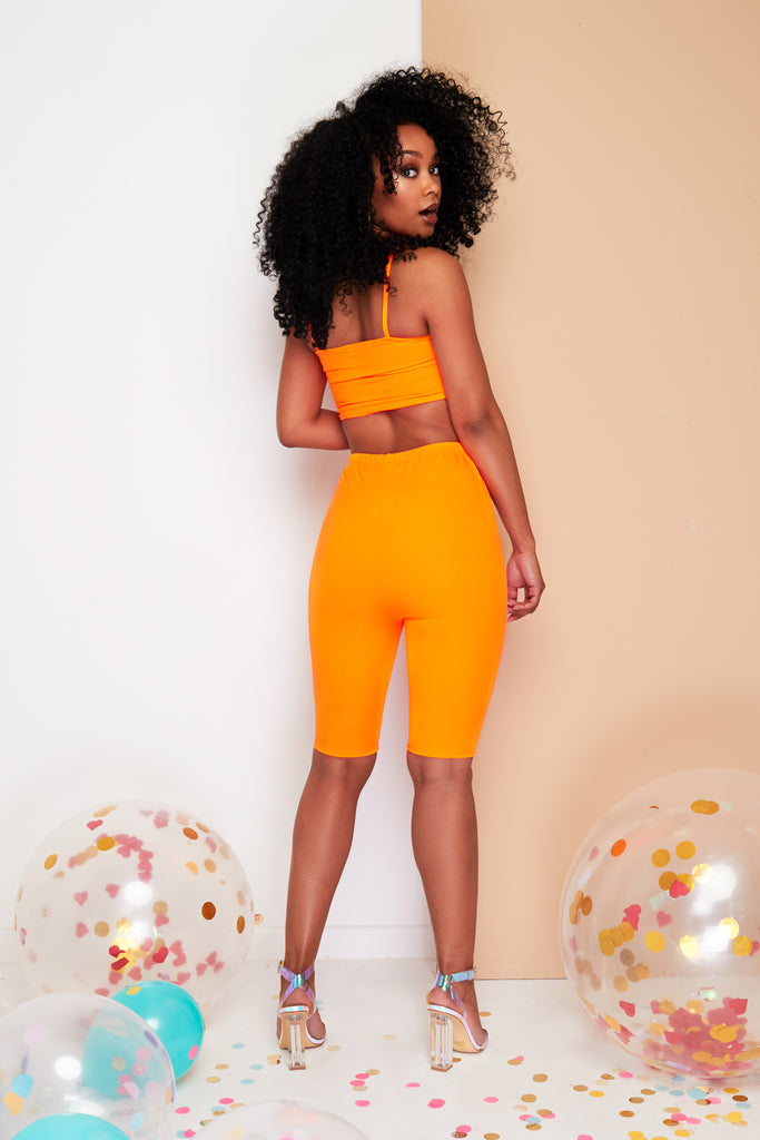 Neon orange cycling shorts Co-ord