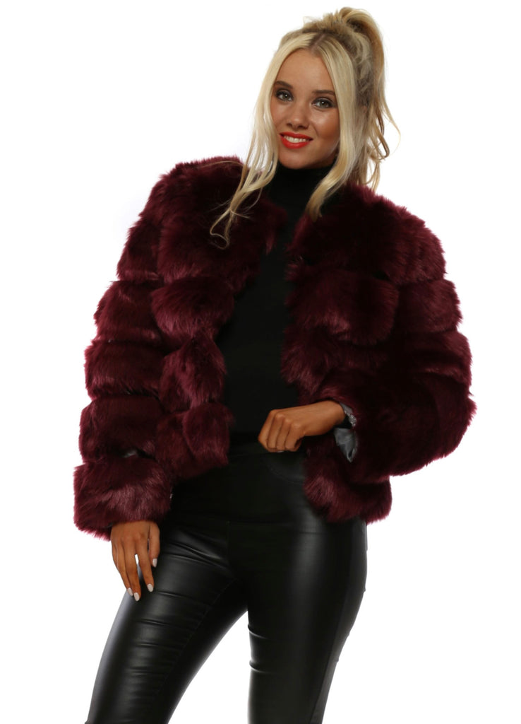 Wine faux fur coat
