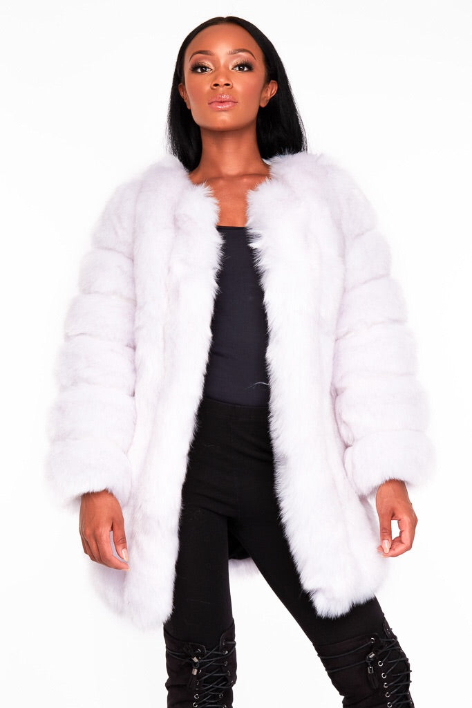ICE  white/grey faux fur coat