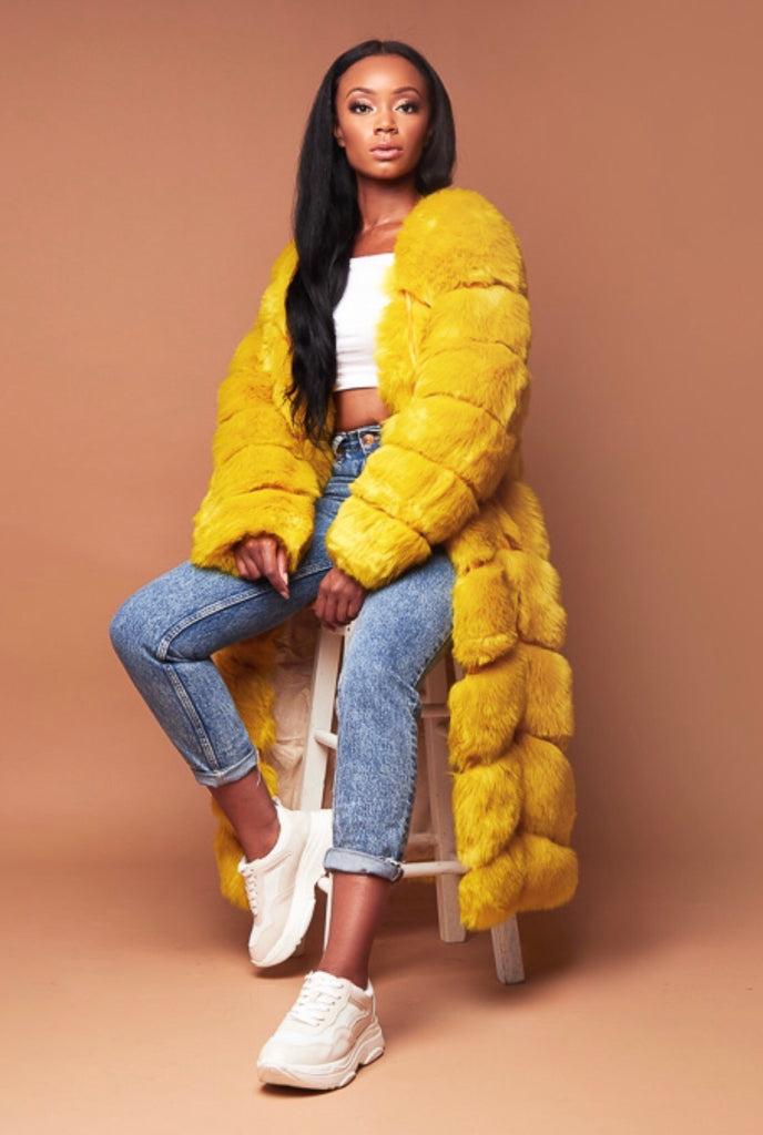 *PRE ORDER* RIRI yellow faux fur coat
