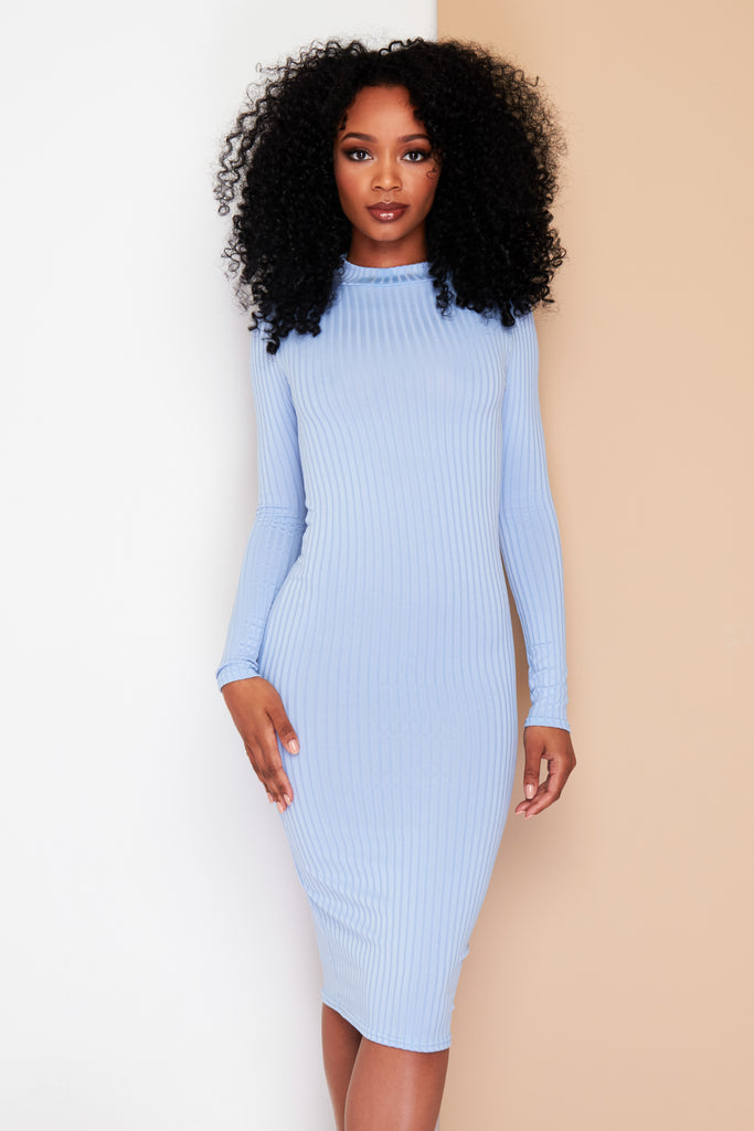 Baby blue stretch midi dress