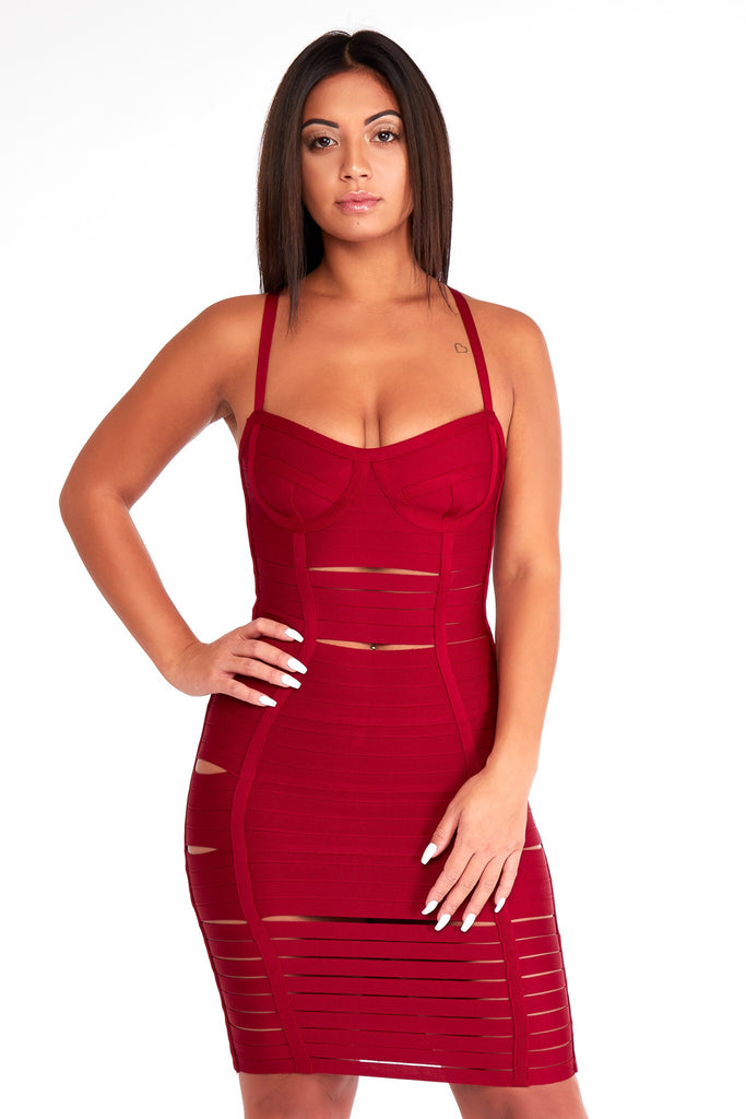 Wine bandage dress