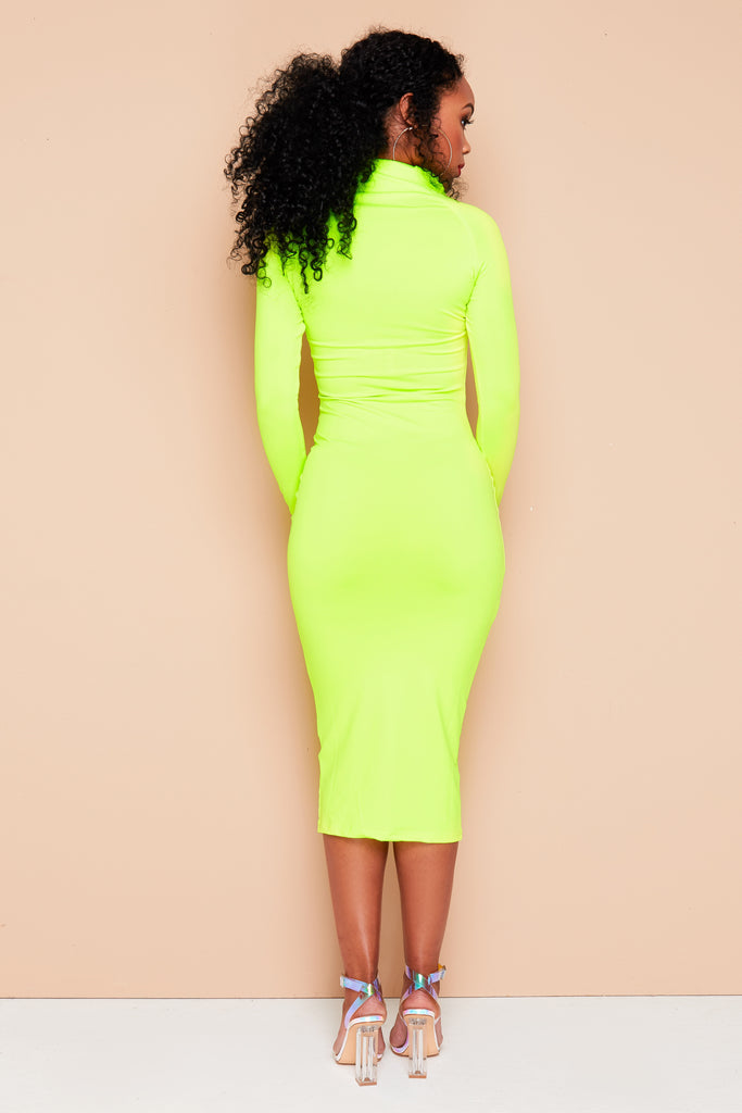 Yellow neon stretch midi dress