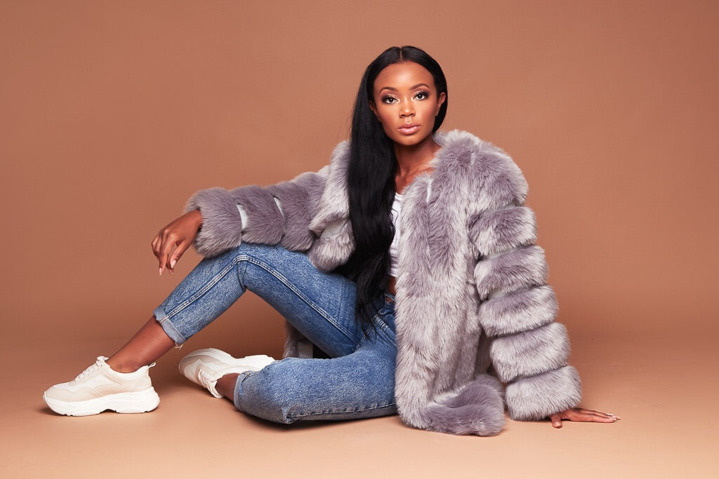 Stoney Grey Faux Fur Coat