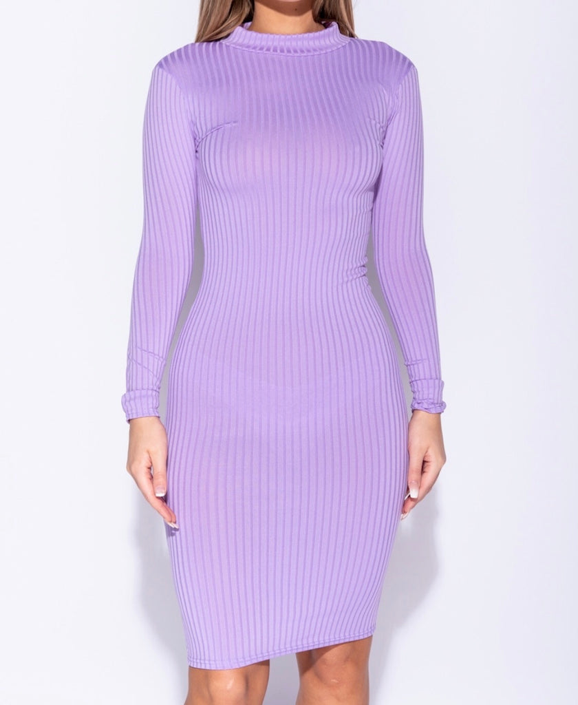Lavender stretch midi dress