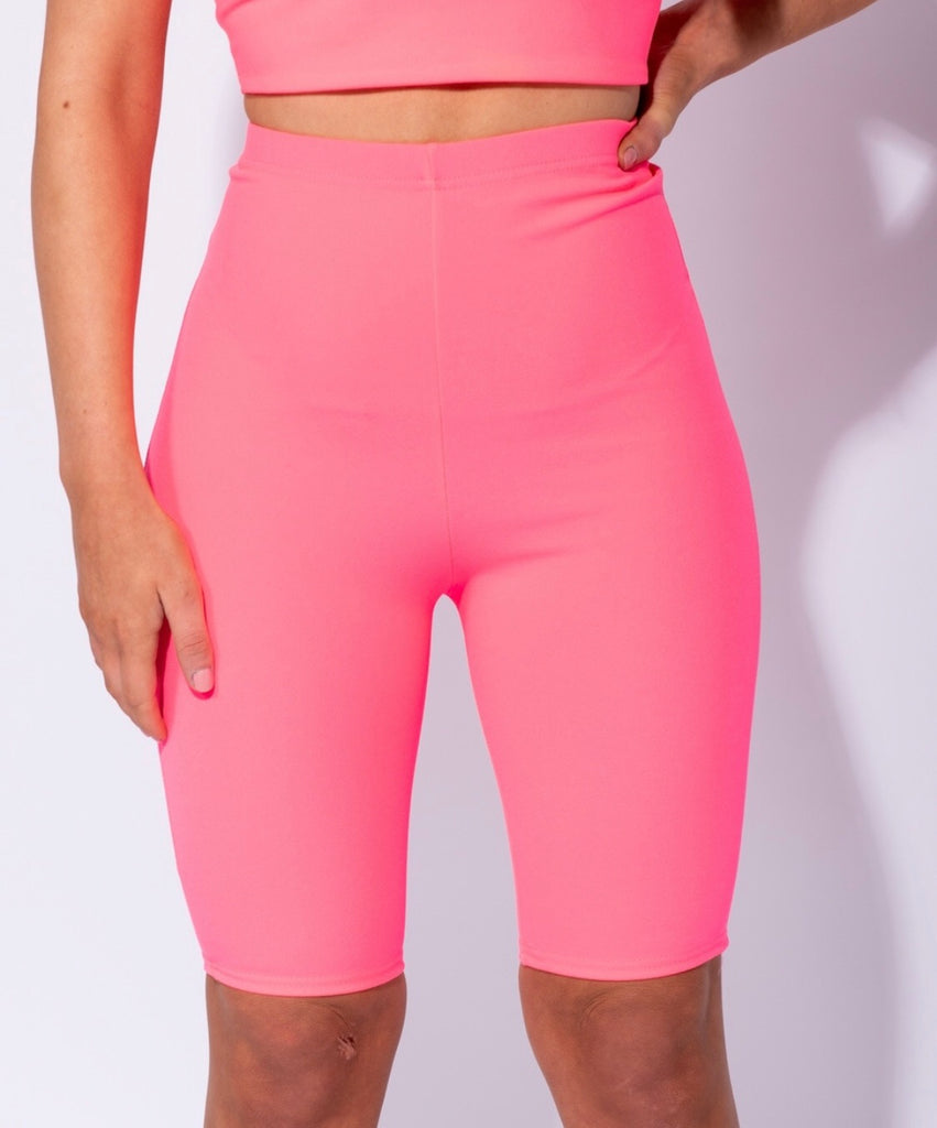 Neon pink cycling shorts Co-ord
