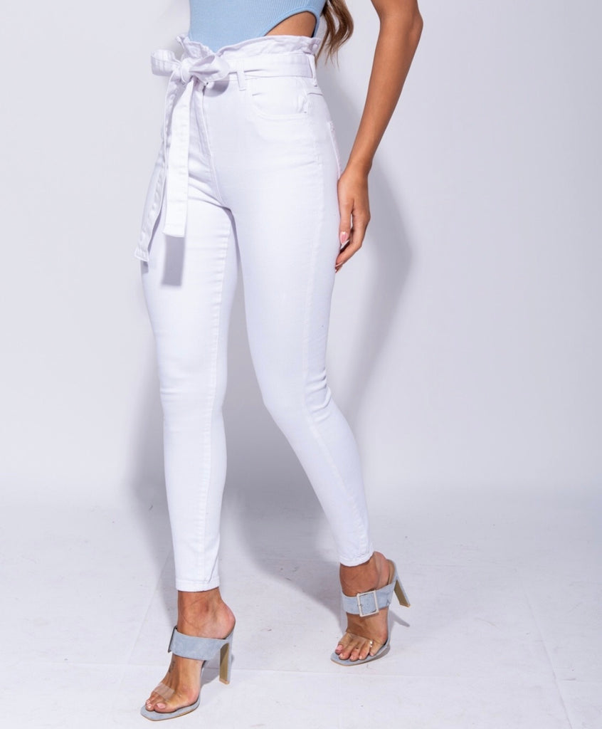 White high waist tie skinny jeans
