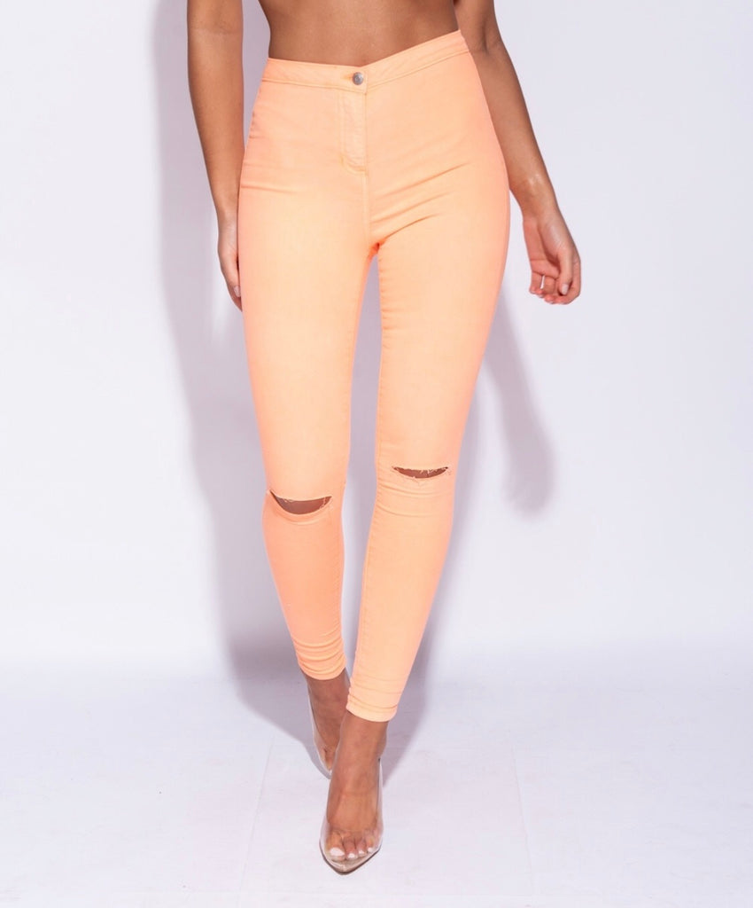 Orange High waisted jeans