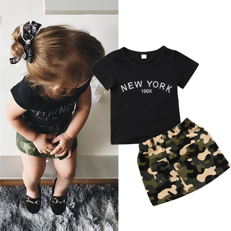 8cf160b5b20f Newborn Kid Baby Girl clothes round neck short sleeve letter print Top  Camouflage Button pocket Skirts ...