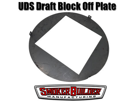 Draft block off plate for uds drum smoker