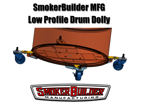 SmokerBuilder Manufacturing low profile drum smoker cart for uds smokers