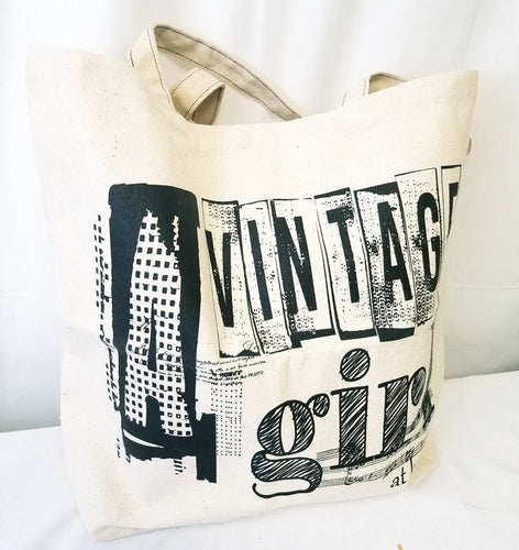 A Vintage Girl At Heart Canvas Tote