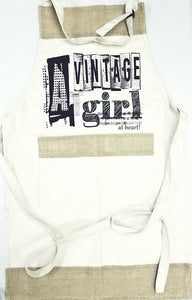 """A Vintage Girl at Heart"" Canvas Apron"