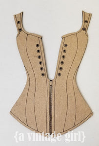 A Vintage Girl Corset- Chipboard Kraft