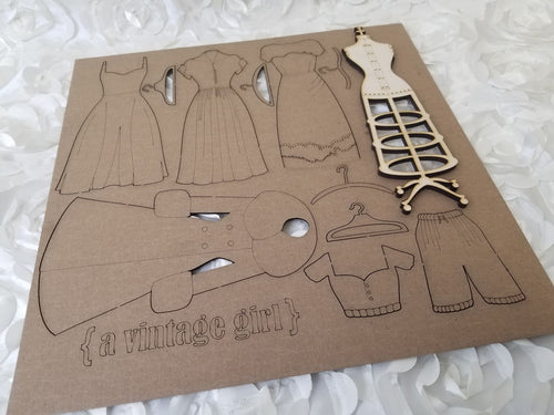 Vintage Dress Up Set- Chipboard