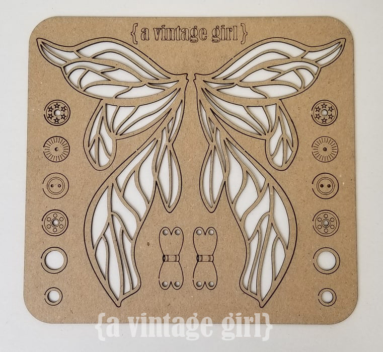 Fairy Wings Chipboard Set with Hardware