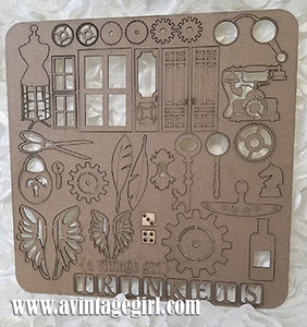 "Printers Tray ""Trinket"" Chipboard 43 Piece Set"