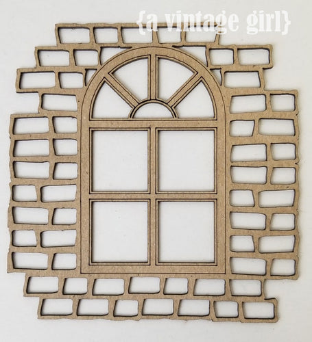 Window with Bricks Chipboard Embellishment
