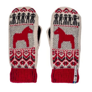 Dalarna Pattern Suede Palm Swedish Mittens