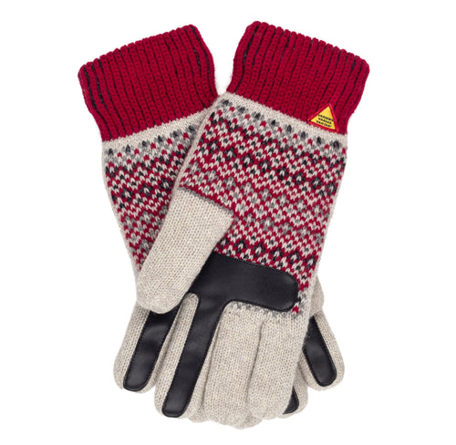 Dalarna Pattern Merino Wool Touchscreen Gloves