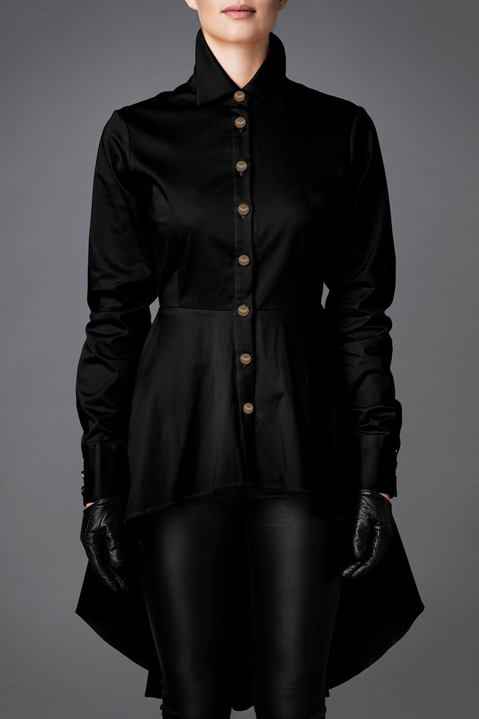 Women's Cotton Shirt - Balance Black