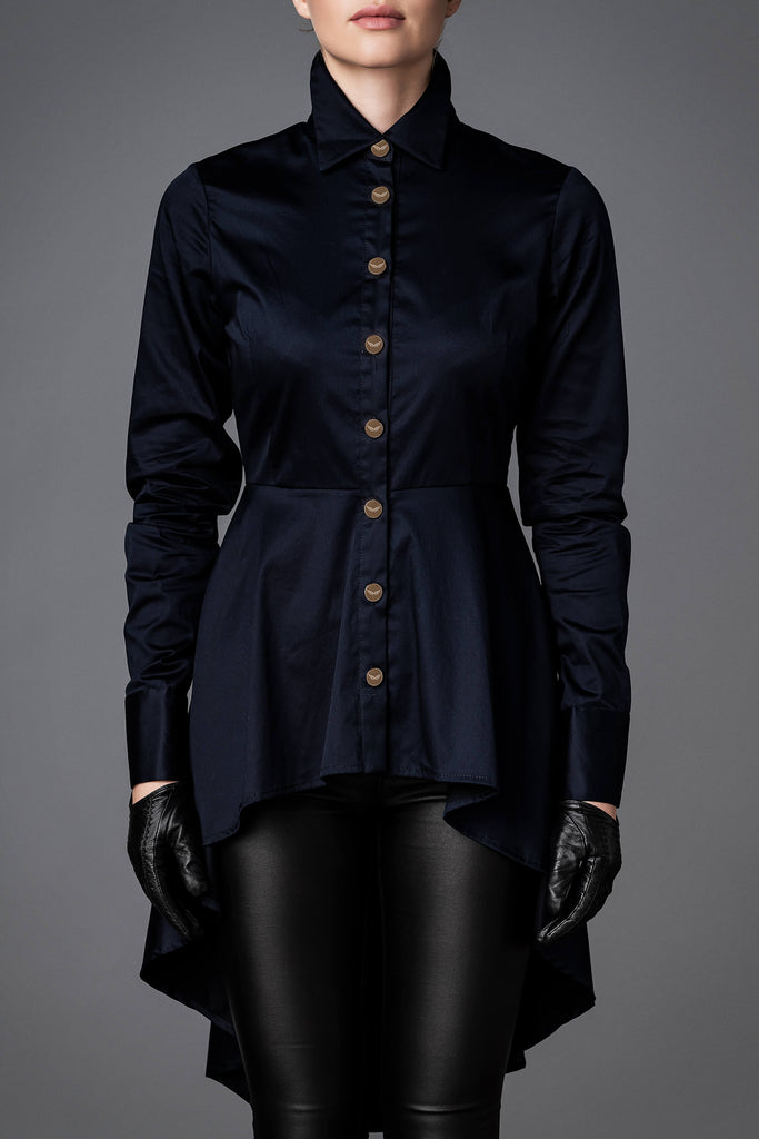 Women's Cotton Shirt - Balance Dark Blue