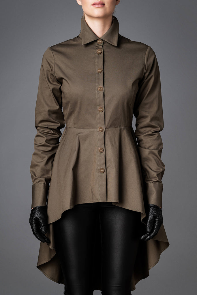 Women's Cotton Shirt - Balance Olive Green