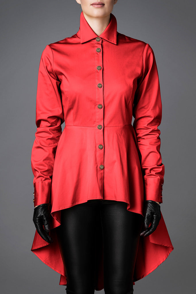 Women's Cotton Shirt - Balance Red