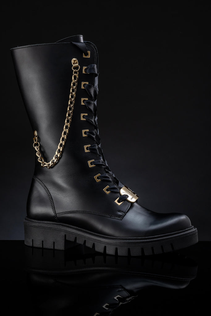 Women's Leather Black Boots - Wonder Black & Gold