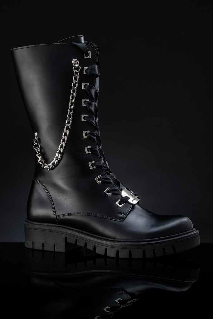 Women's Leather Black Boots - Wonder Black & Silver