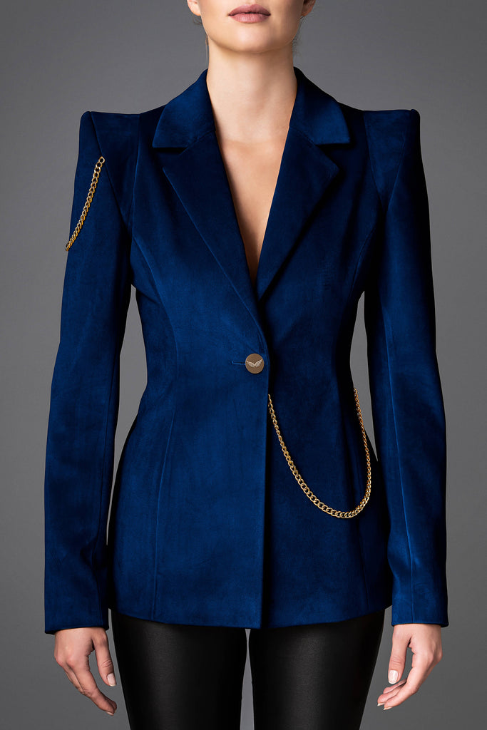 Women's Velvet Jacket - Boldness Dark Blue