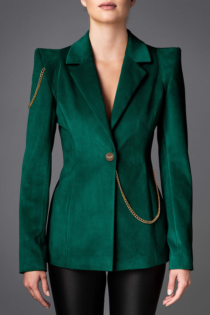 Women's Velvet Jacket - Boldness Emerald Green