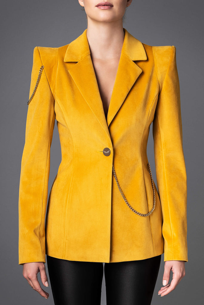 Women's Velvet Jacket - Boldness Yellow