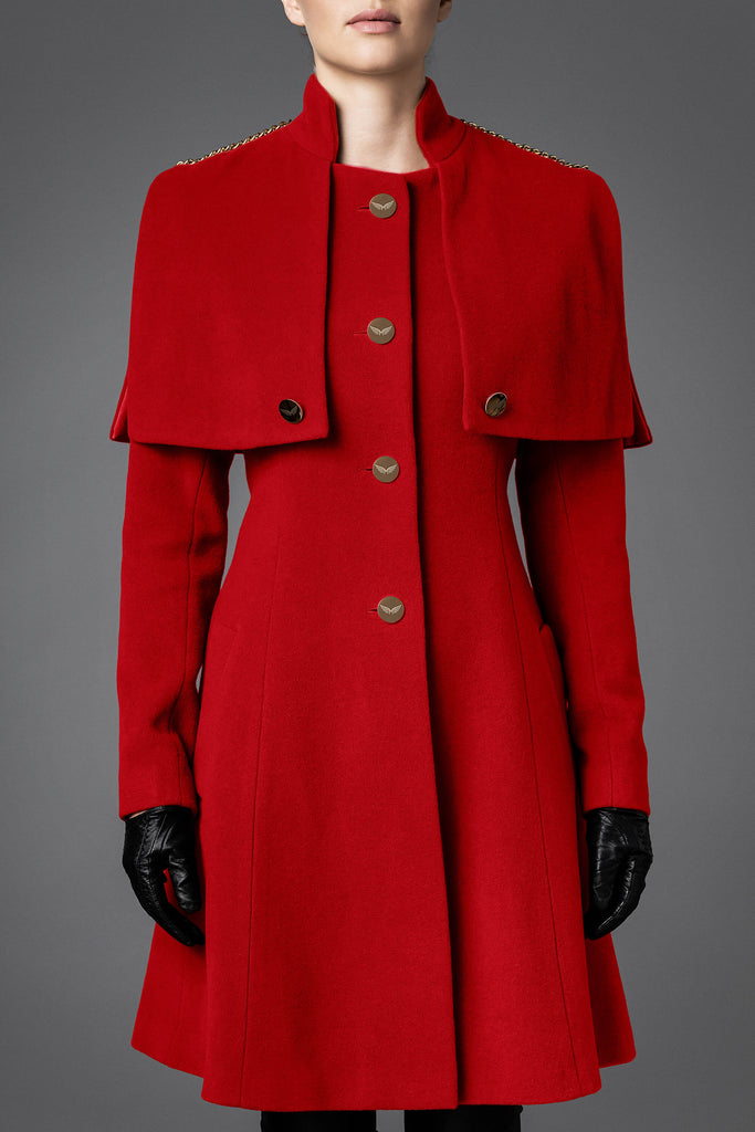 Women's Wool Coat - Harmony Red