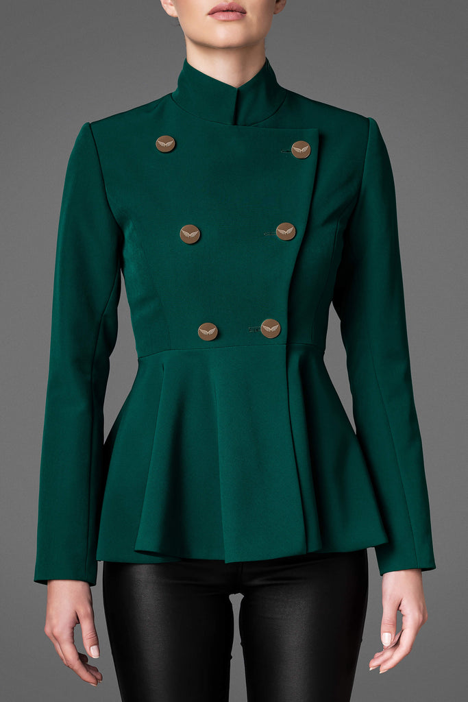 Women's Lightweight Wool Jacket - Serene Emerald Green