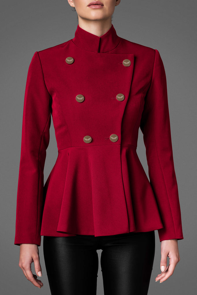 Women's Lightweight Wool Jacket - Serene Red
