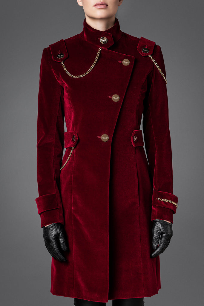 Women's Velvet Coat - Unity Burgundy Red