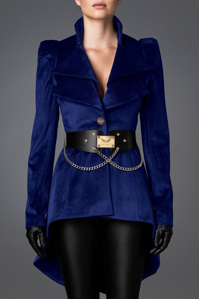 Women's Velvet Jacket - Wisdom Dark Blue