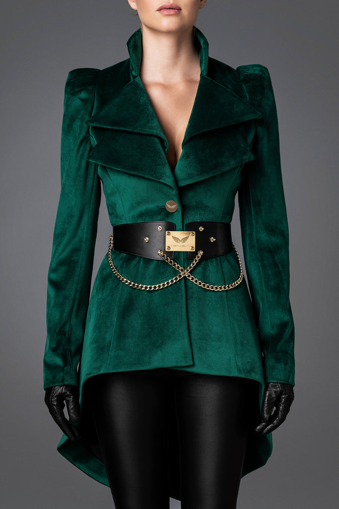 Women's Velvet Jacket - Wisdom Emerald Green
