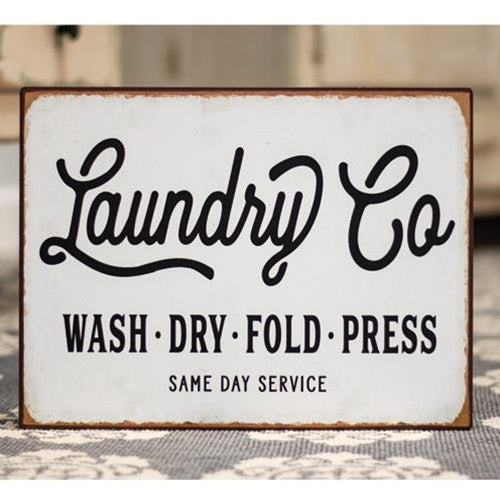 Laundry Co. Distressed Metal Sign