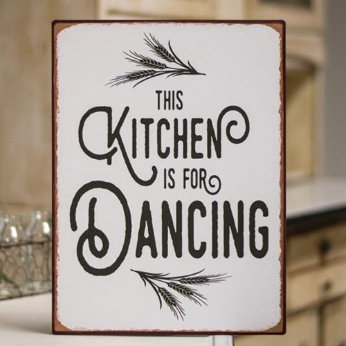Kitchen is for Dancing Distressed Metal Sign