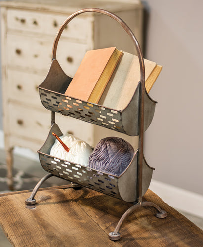 Galvanized Olive Bucket Two-Tier Organizer