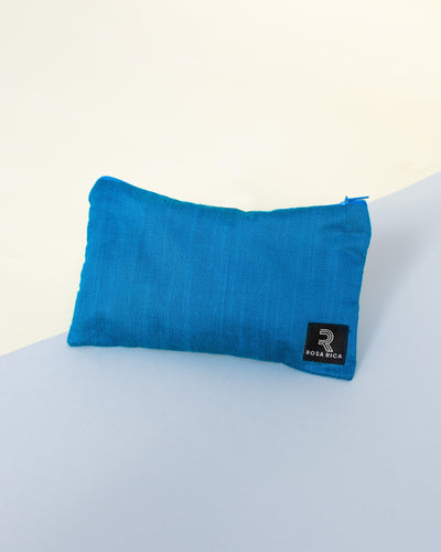 Raw Silk Travel Pouch (Sapphire Blue) - Fits 6 x 10ml bottles