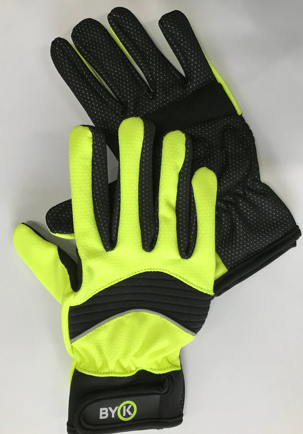 ByK Kids Full Finger Cycling Gloves Neon Yellow