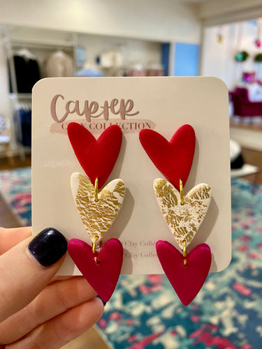 Carter Clay Collection | Heart Trio Dangle Earrings