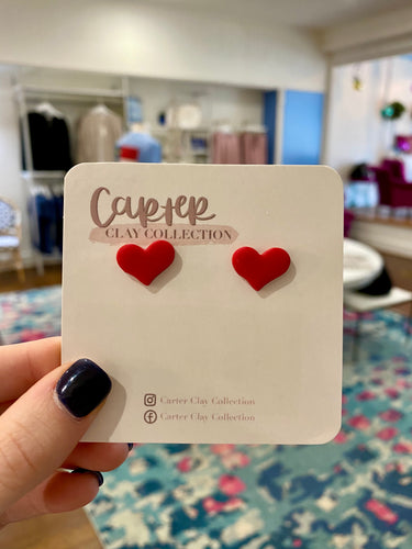 Carter Clay Collection | Small Heart Stud {Red}