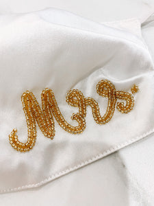 Mrs. Beaded Mask {White/Gold}