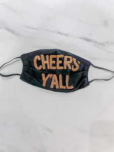 Cheers Y'all Mask {Black/Gold}
