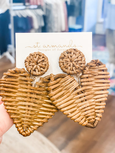 St.Armands Rattan Hearts Natural